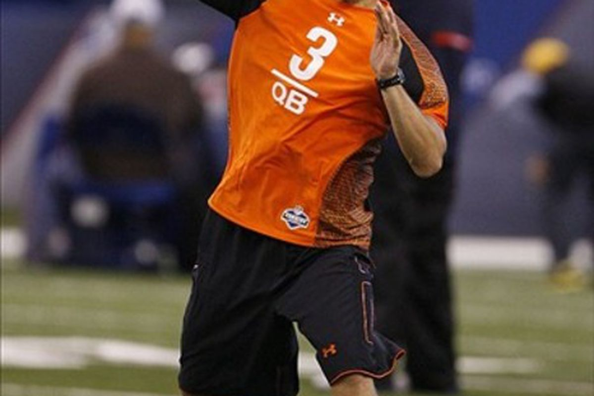 Feb 26, 2012; Indianapolis, IN, USA; Michigan State Spartans quarterback Kirk Cousins (3) throws during the NFL Combine at Lucas Oil Stadium. Mandatory Credit: Brian Spurlock-US PRESSWIRE
