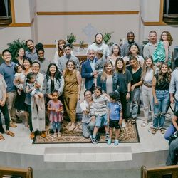 Parishioners from the Oikon United Methodist Church in Houston worship with the Rev. Mike Whang on Sunday, June 6, 2021.