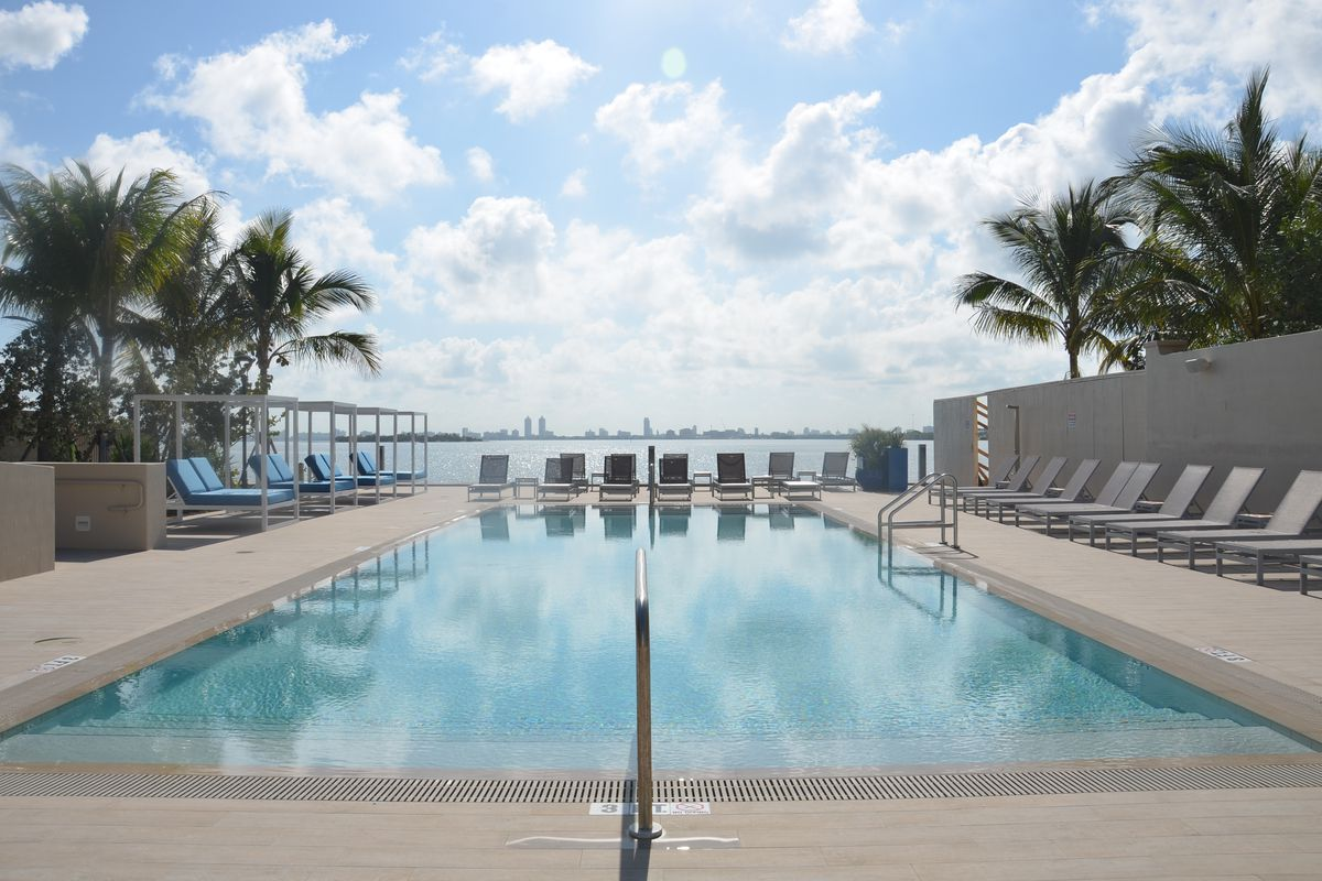 A bay view from the pool at Miami Bay Waterfront Midtown Residences