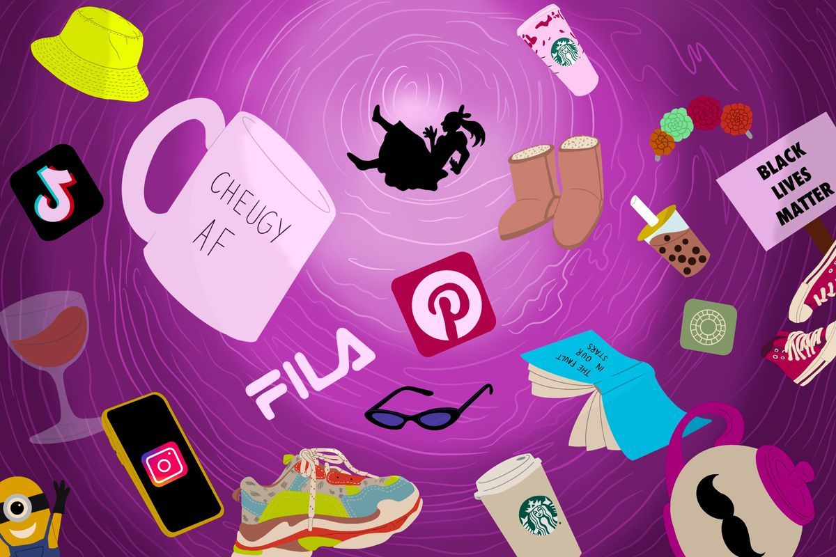 a woman falling into an abyss surrounded by products (wine glass, Starbucks cup, FILA disruptor) and cultural signifiers (TikTok logo, BLM sign, Minion)