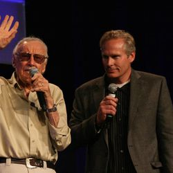 Marvel icon Stan Lee and convention creator Dan Farr wave to the crowd at Salt Lake Comic Con. With more than 50,000 tickets sold, Comic Con goers filled the convention halls to the max during the final day of the convention.