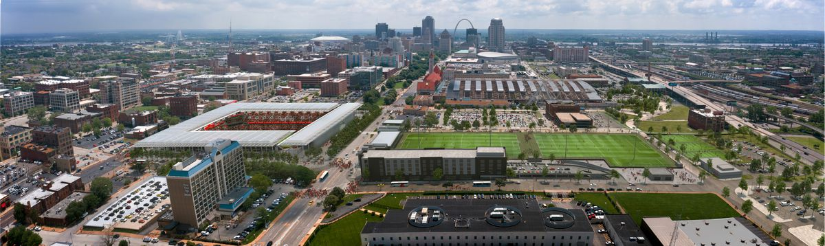 A view of the Downtown West neighborhood in St. Louis.