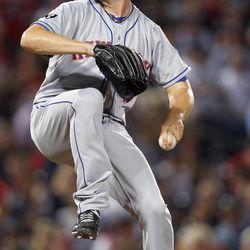 New York Mets starting pitcher Jonathon Niese (49) works in the second inning of a baseball game against Atlanta Braves in Atlanta, Friday,  Sept. 28, 2012.