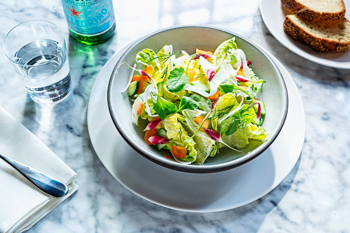 A little gem and avocado salad with vegan coconut ranch dressing from Lyle's