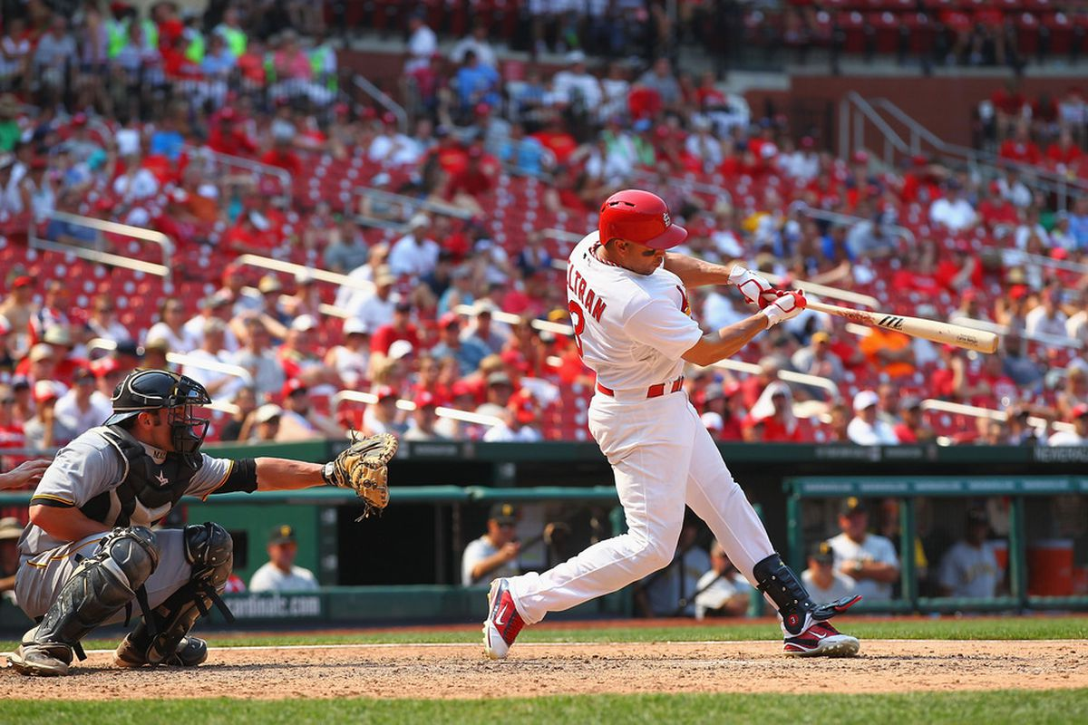ST. LOUIS, MO - JUNE 30: Carlos Beltran #3 of the St. Louis Cardinals collects is 400th career double while playing against the Pittsburgh Pirates at Busch Stadium on June 30, 2012 in St. Louis, Missouri.  (Photo by Dilip Vishwanat/Getty Images)