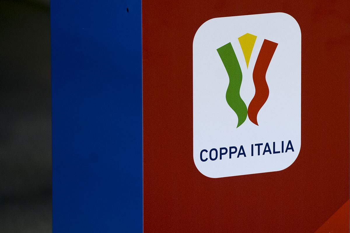 The Coppa Italia (Italy Cup) logo is pictured prior to the...