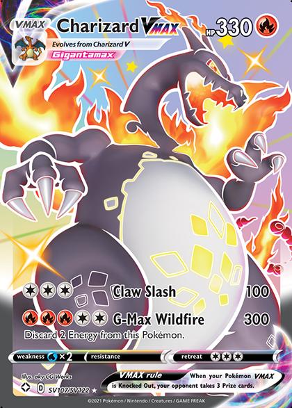 A Pokémon card shows Charizard