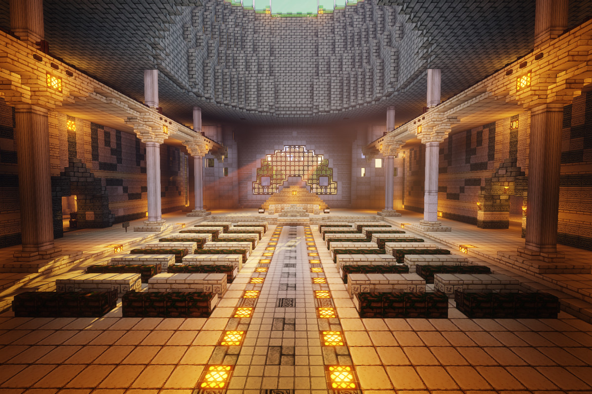 Minecraft - an in-game shot of the Republic City hall on the Four Nations Minecraft custom server