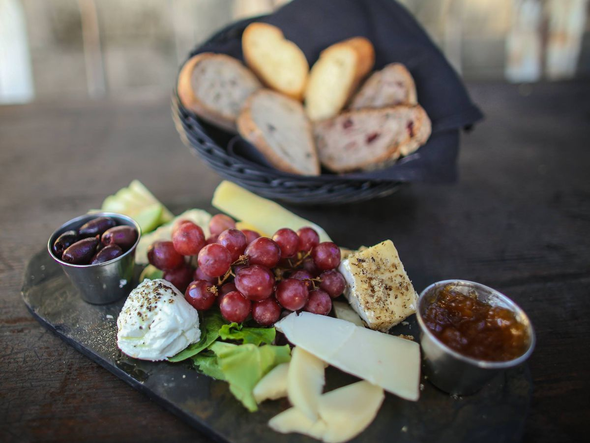 Cheese, breads, and fruits from Blue Dahlia Bistro