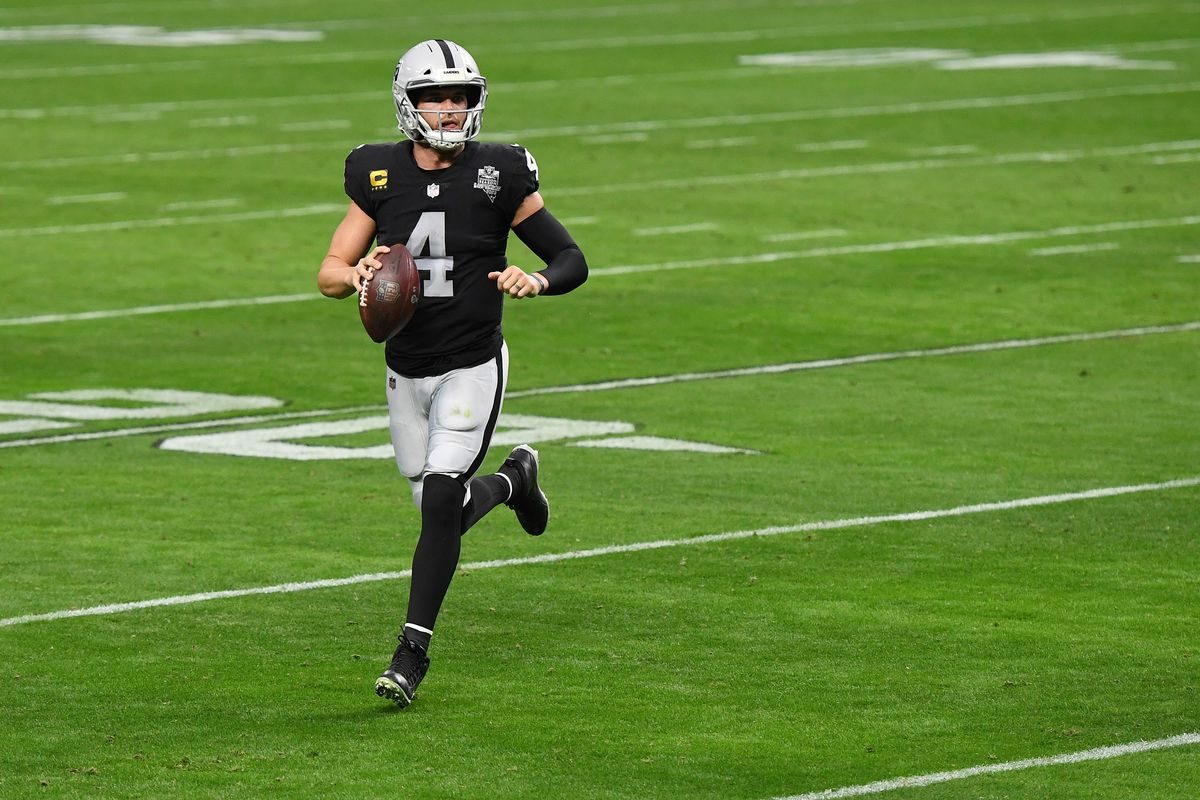 Las Vegas Raiders quarterback Derek Carr #4 scrambles against the Indianapolis Colts during the third quarter at Allegiant Stadium on December 13, 2020 in Las Vegas, Nevada.