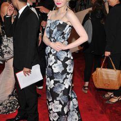 Emma Stone in Lanvin works the neon lipstick trend