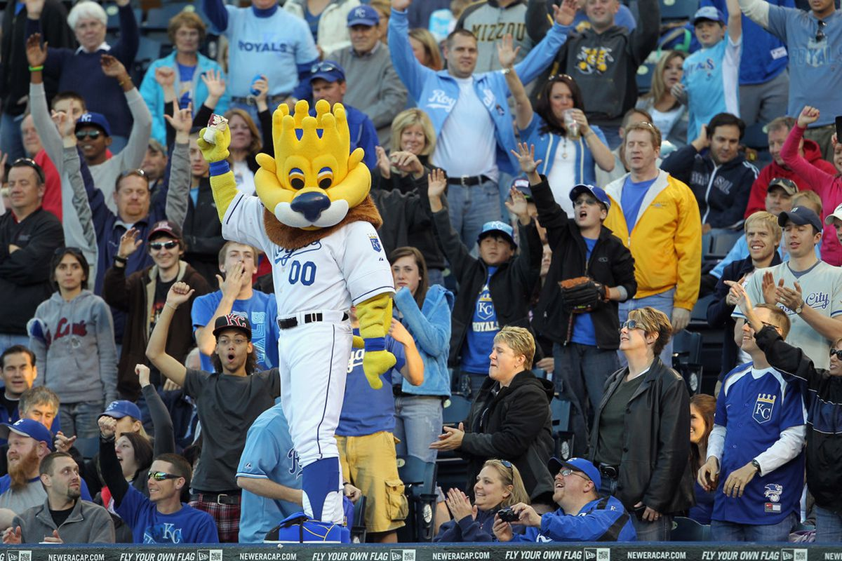 KANSAS CITY, MO - MAY 03:  Kansas City Royals mascot Slugger pumps up the crowd during the game against the Baltimore Orioles on May 3, 2011 at Kauffman Stadium in Kansas City, Missouri.  (Photo by Jamie Squire/Getty Images)