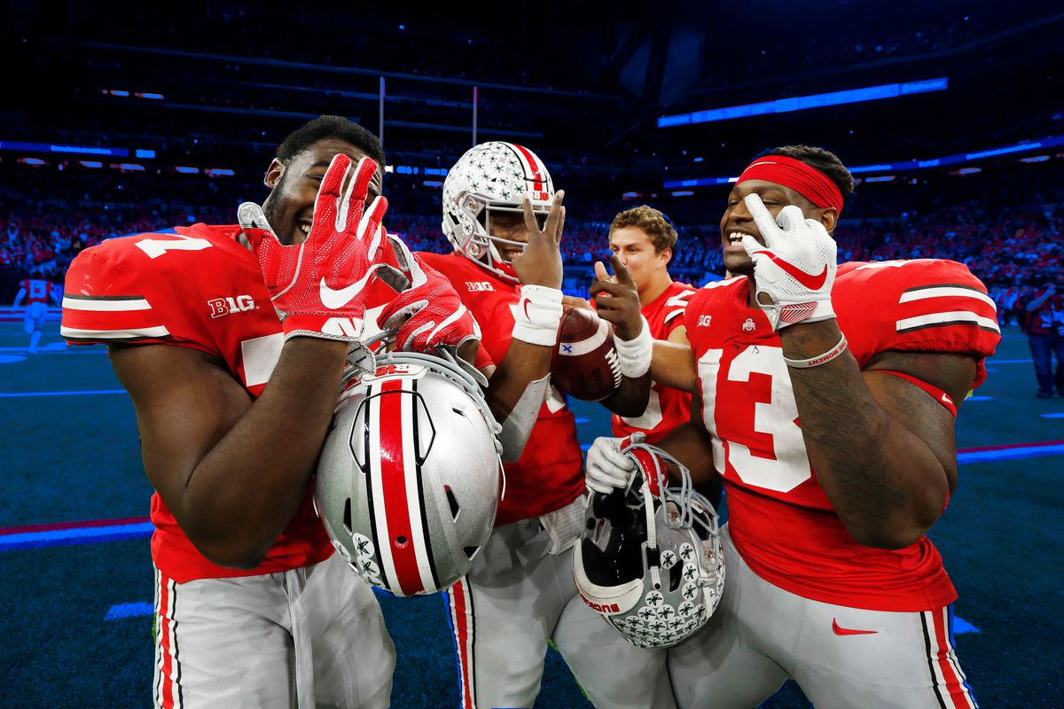 Ohio State Buckeyes players after winning the Big Ten Championship.