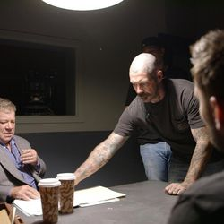 """A still from """"Not A War Story"""" shows William Shatner getting ready to appear in """"Range 15."""" The new documentary """"Not A War Story"""" premieres June 30 in Los Angeles and tells the behind-the-scenes story of """"Range 15,"""" a darkly comedic zombie-apocalypse movie starring only veterans and meant to poke fun at how Hollywood typically portrays the military. Shatner played Richard Chindler, attorney-at-law."""
