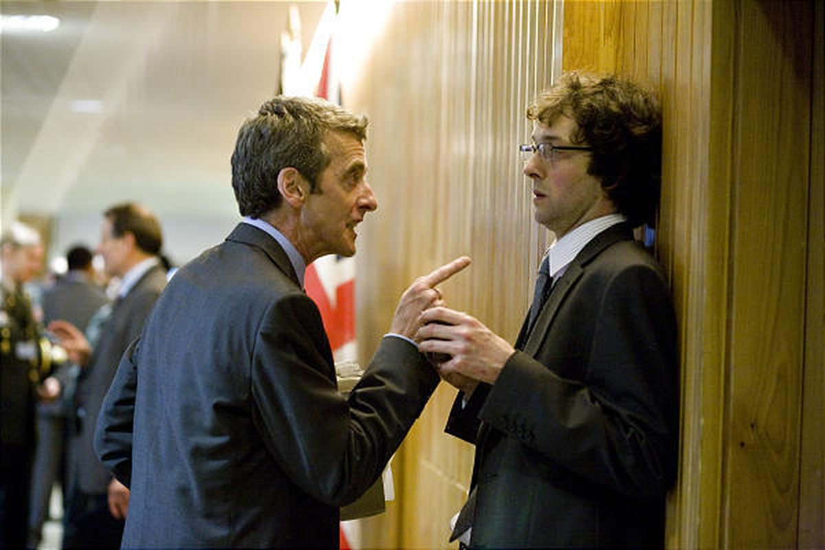 """Peter Capaldi, left, stars as Malcolm with Chris Addison as Toby in the politically savvy, satirical movie """"In the Loop."""""""