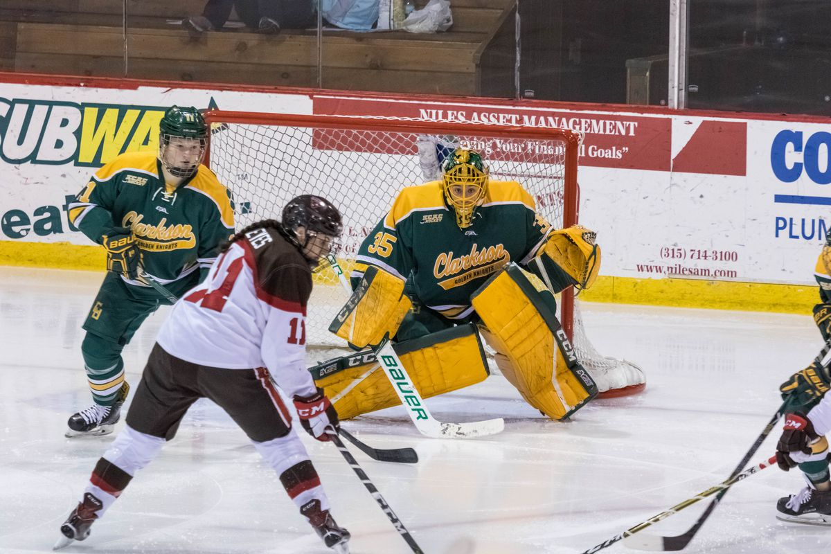 Shea Tiley in action for the Clarkson Golden Knights against SLU.