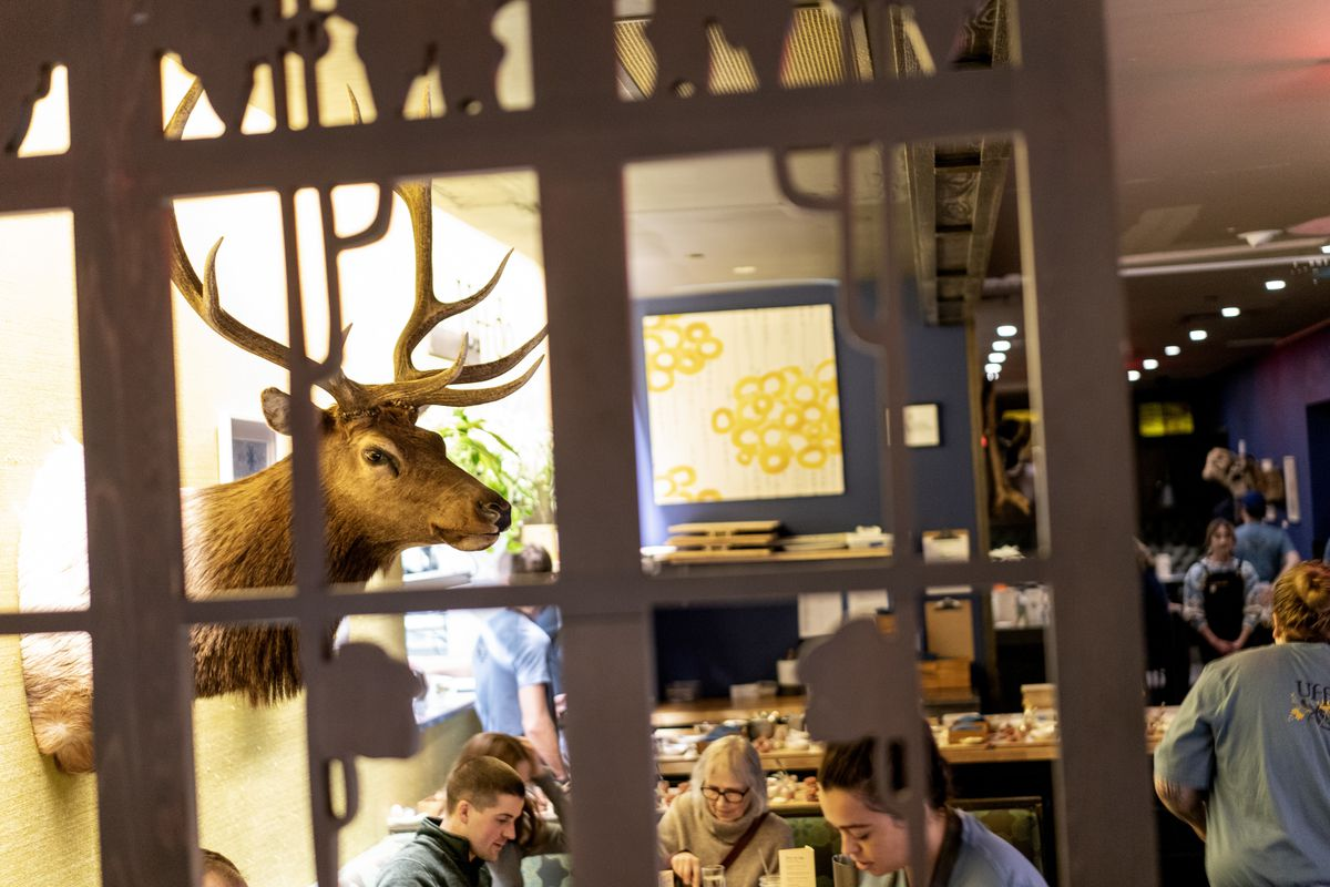 A mounted deer head overlooks the amber-lit dining room, filled with people