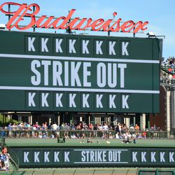 3:50 p.m. A strikeout indicated on the right field video board -