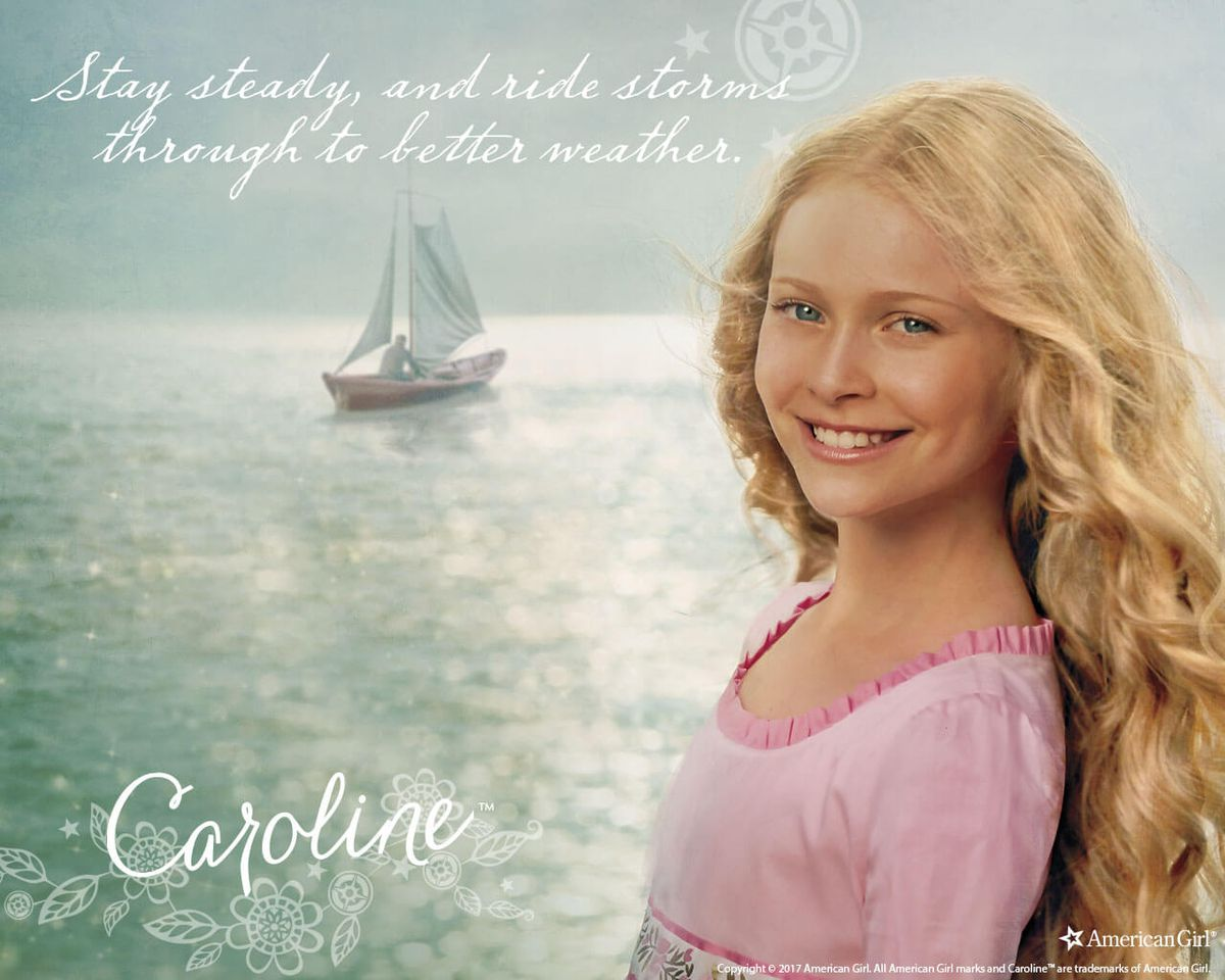caroline, the girl of 1812, against a waterfront background