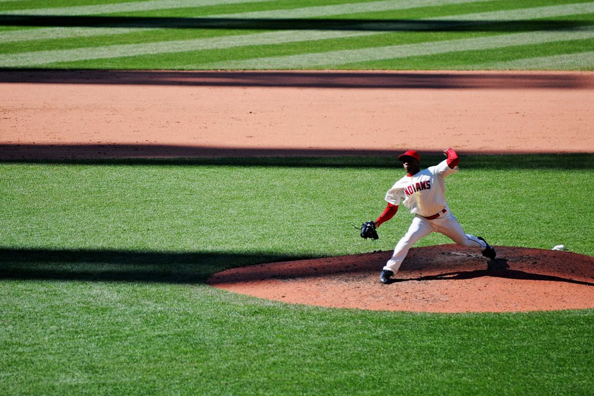 April 7, 2012; Cleveland, OH, USA: Cleveland Indians relief pitcher Tony Sipp (49) pitches in the bottom of the twelfth inning against the Toronto Blue Jays at Progressive Field.  Mandatory Credit: Eric P. Mull-USPRESSWIRE