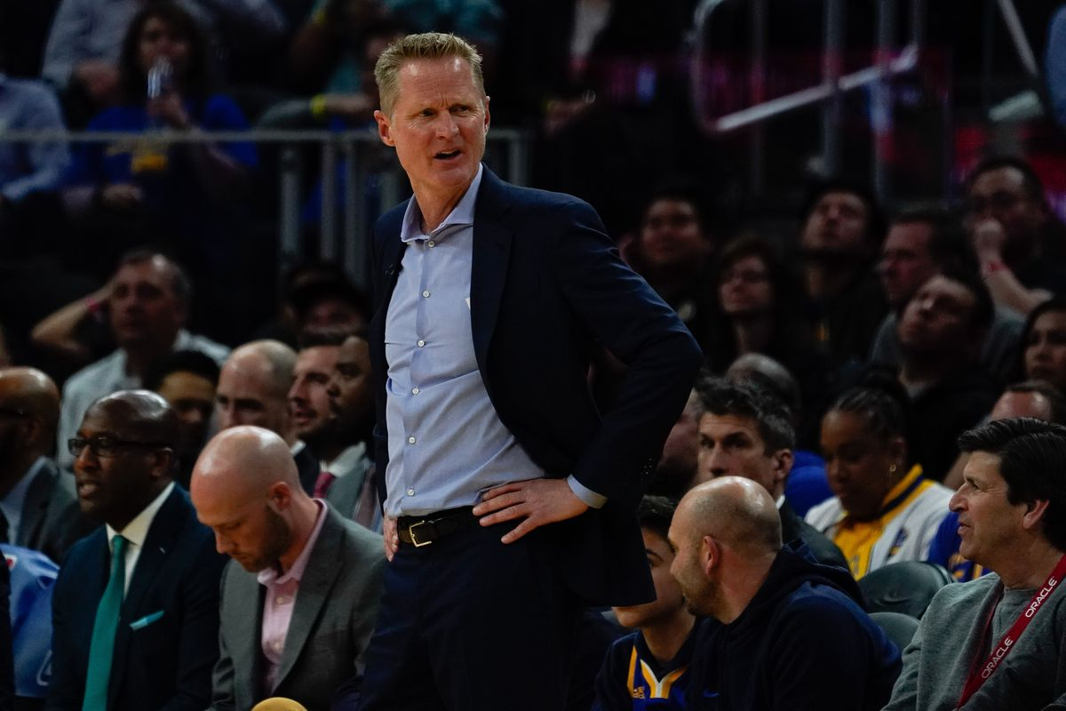 Golden State Warriors head coach Steve Kerr reacts during the fourth quarter in the game against the Toronto Raptors at Chase Center.