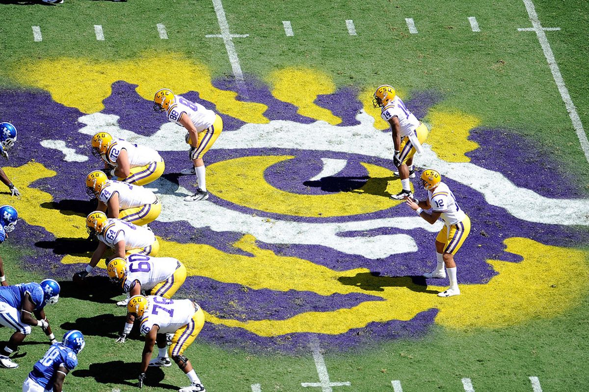BATON ROUGE, LA - OCTOBER 01:  Jarrett Lee #12 of the Louisiana State University Tigers waits for the snap during a game being held at Tiger Stadium on October 1, 2011 in Baton Rouge, Louisiana.  (Photo by Stacy Revere/Getty Images)