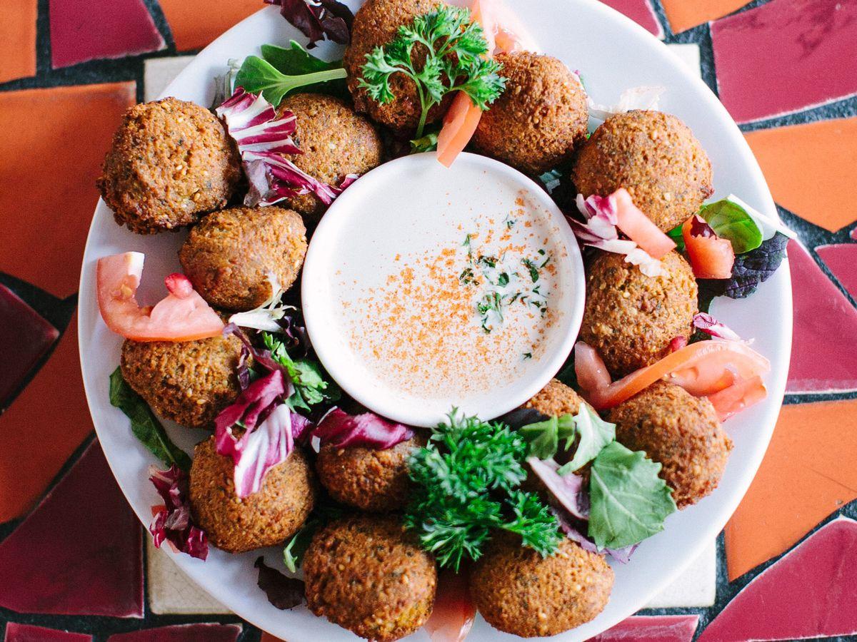 A falafel platter from the Berkeley restaurant La Mediterranee.