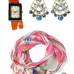 Tokyo Bay Orange Tinta Watch, $80. Diane Yang Blue Quartz Chandelier<br />Earrings, $245.  Johnny Was Aja Silk Scarf, $85.00.