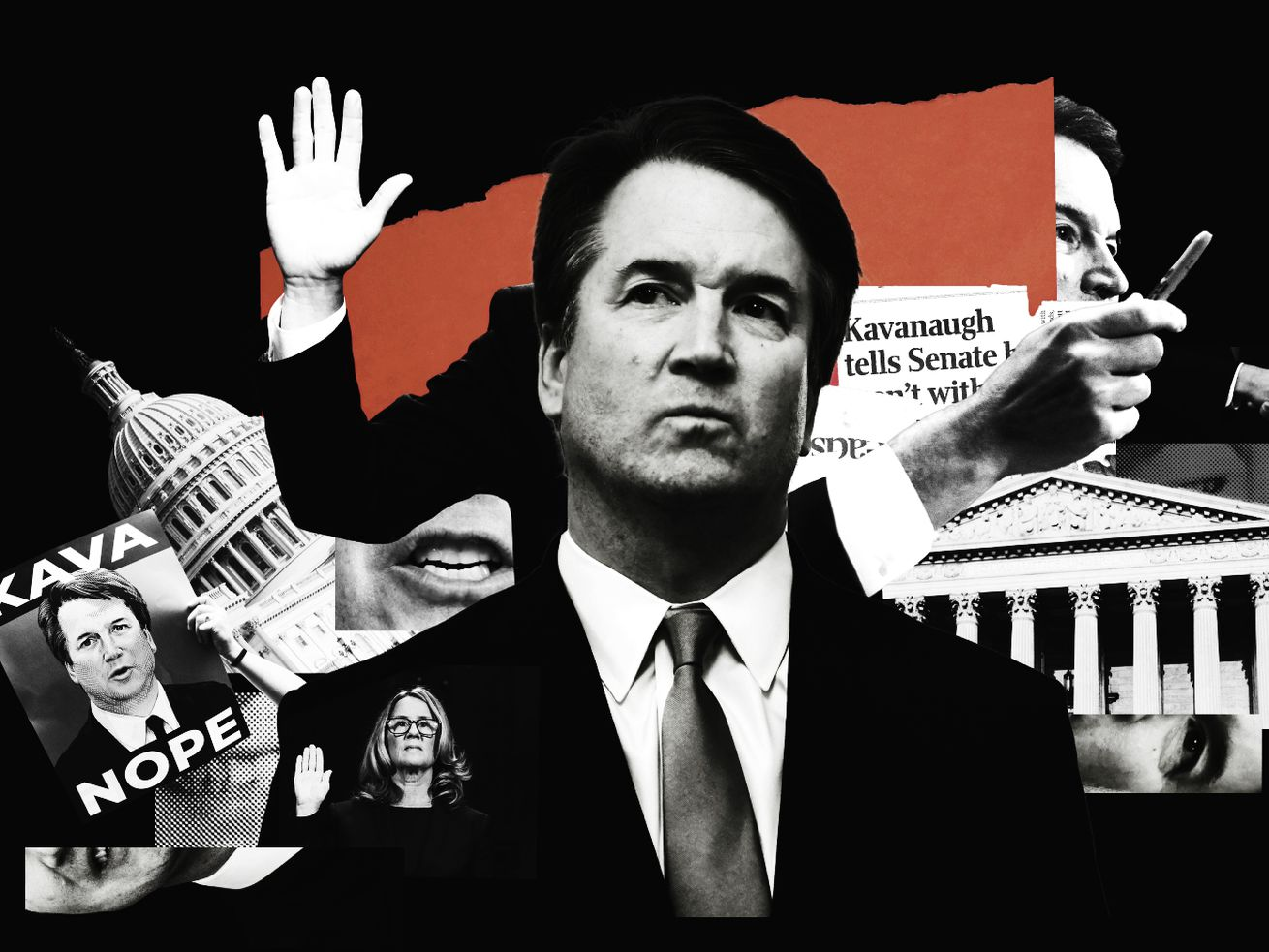A photo illustration of Supreme Court Justice Brett Kavanaugh and Capitol buildings.
