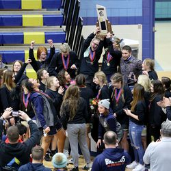 Westlake girls celebrate their first place finish in 6A State Wrestling championship at West Lake High in Saratoga Springs on Monday, Feb. 15, 2021.