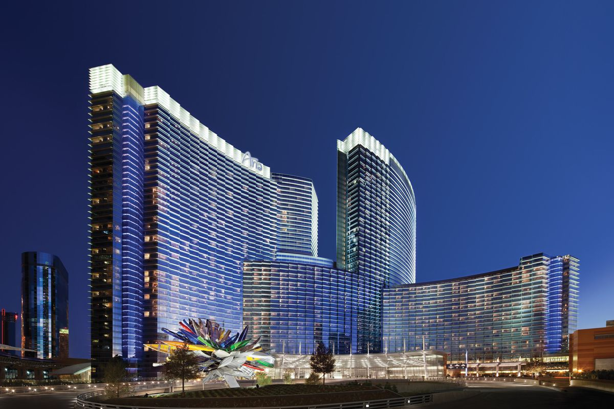 The exterior of Aria on the Las Vegas Strip at night