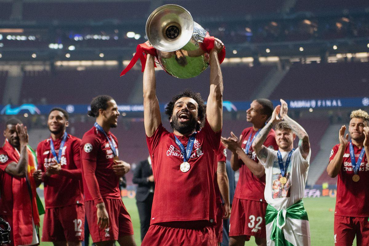 Mohamed Salah lifts the Champions League Trophy - Liverpool - Premier League
