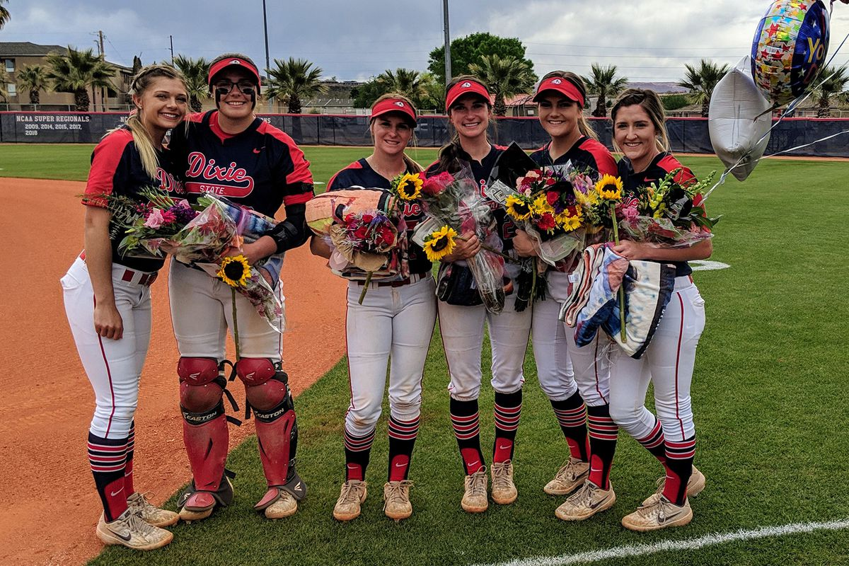 From left to right: Dixie State seniors Bailey Gaffin, Jessica Gonzalez, Kaitlyn Delange, Dani Bartholf, Taylor Godfrey and Alexandria Melendez are honored prior to the Trailblazers' doubleheader on Saturday.