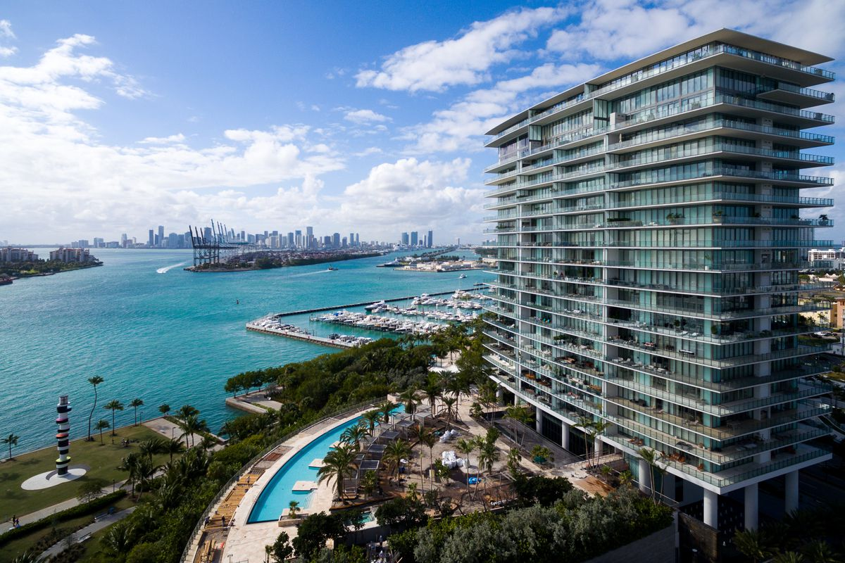 View of the high-end condo with the water in the background