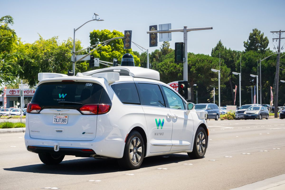 A self-driving WayMo car on a street in Mountain View.