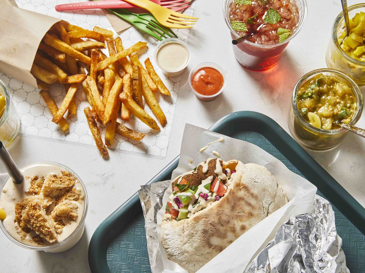 fries, shakes, and falafel in a pita