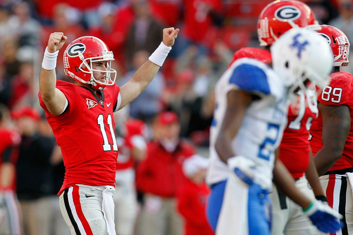 ATHENS, GA - NOVEMBER 19:  Aaron Murray #11 of the Georgia Bulldogs reacts in the final seconds of their 19-10 win over the Kentucky Wildcats at Sanford Stadium on November 19, 2011 in Athens, Georgia.  (Photo by Kevin C. Cox/Getty Images)