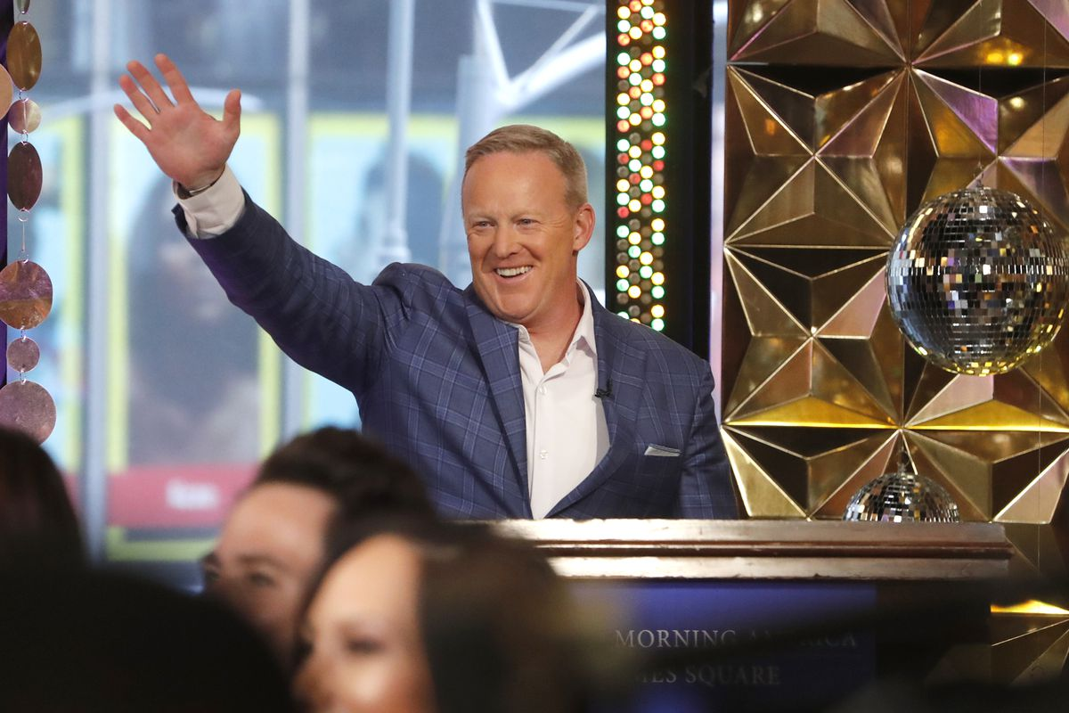 """Sean Spicer is introduced Wednesday morning on """"Good Morning America"""" as the cast of """"Dancing with the Stars"""" was announced live during the broadcast."""
