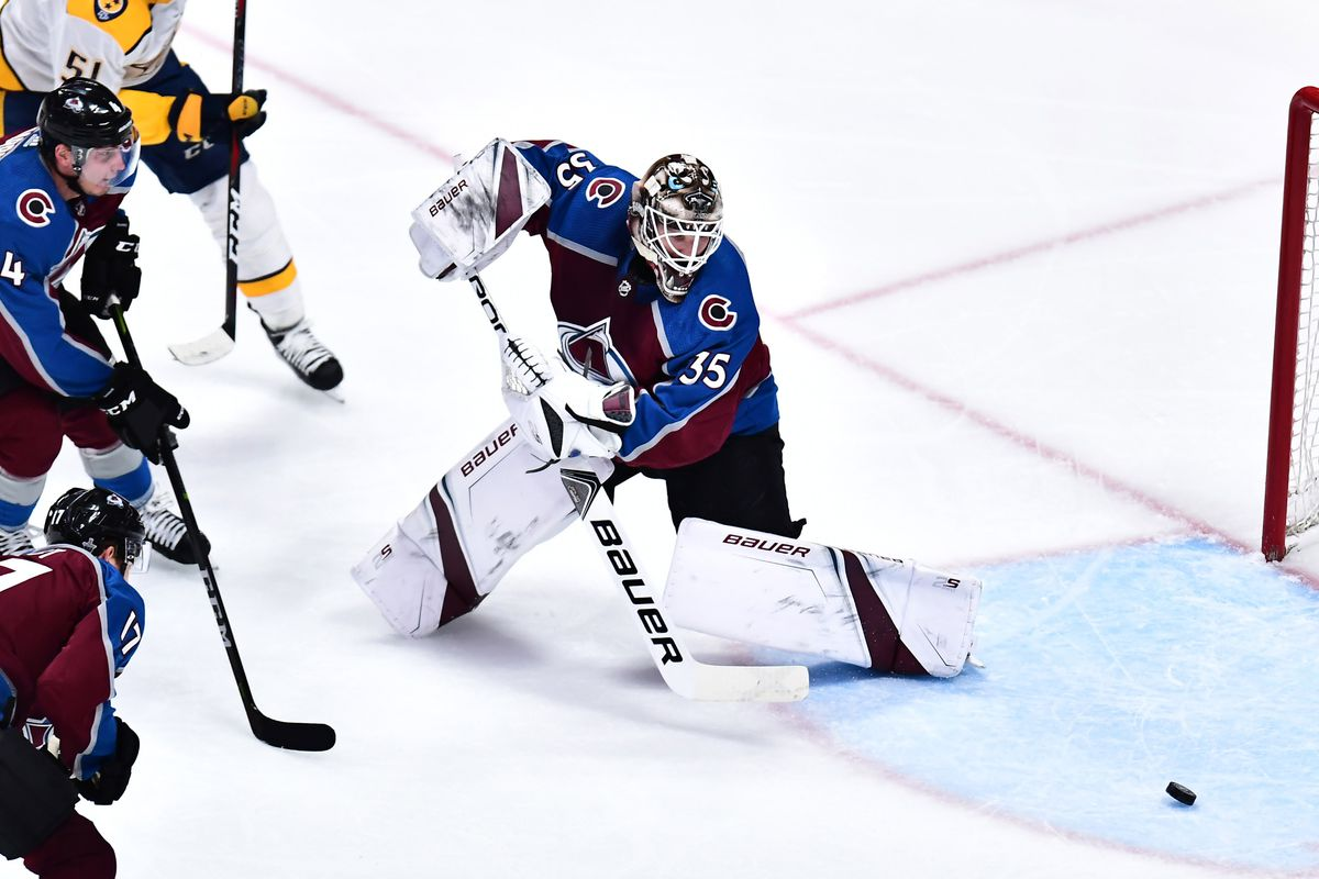 e157966e887 Colorado Avalanche goaltender Andrew Hammond (35) pokes away the puck in  the third period against the Nashville Predators in game four of the first  round of ...