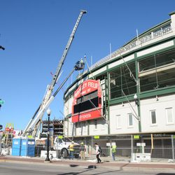 12:07 p.m. A wide view of the scene in front of the ballpark -