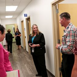 Jennifer Bradley, director of the Intermountain Kidney Clinic, conducts a tour during the grand openingof the Intermountain Kidney Care Center, which encompasses the clinic and outpatient treatment services, at Intermountain Medical Center in Murray on Thursday, Sept. 5, 2019.