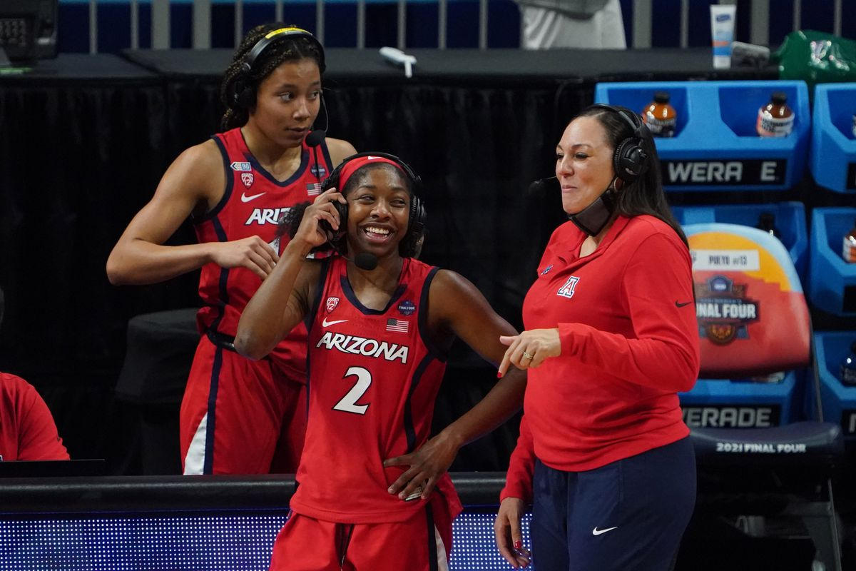 Arizona Wildcats guard Aari McDonald and Arizona Wildcats head coach Adia Barnes speak to the media after defeating the UConn Huskies in the national semifinals of the women's Final Four of the 2021 NCAA Tournament at Alamodome.