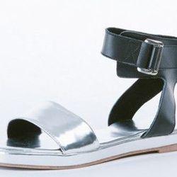 "Metallic Ankle Strap Sandal, <a href=""http://www.shopanthom.com/metallic-ankle-strap-flat-sandal"">$74</a> at Anthom"