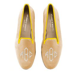 """Customize <b>Stubbs & Wootton</b> slippers, <a href=""""http://www.stubbsandwootton.com/index.php/custom_monogram/"""">$600</a> with each girl's initials—or a cute three letter word—and colors that match each personality"""