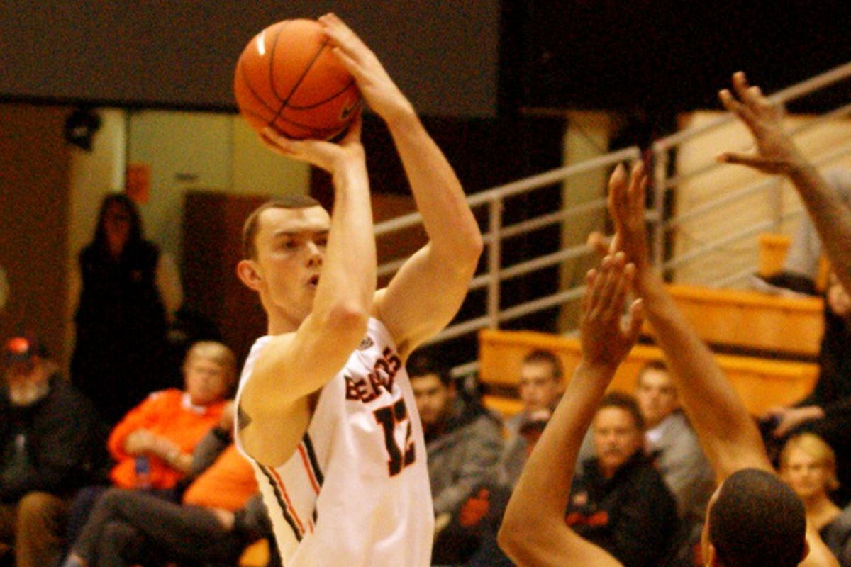 Angus Brandt's 3 pointer started an 11-0 second half run that put Oregon St. too far ahead of Towson for the TIgers to be able to catch up with the Beavers.
