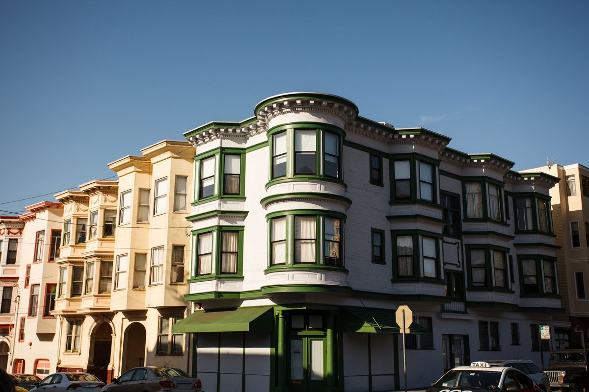 A corner of a block of apartments in San Francisco.
