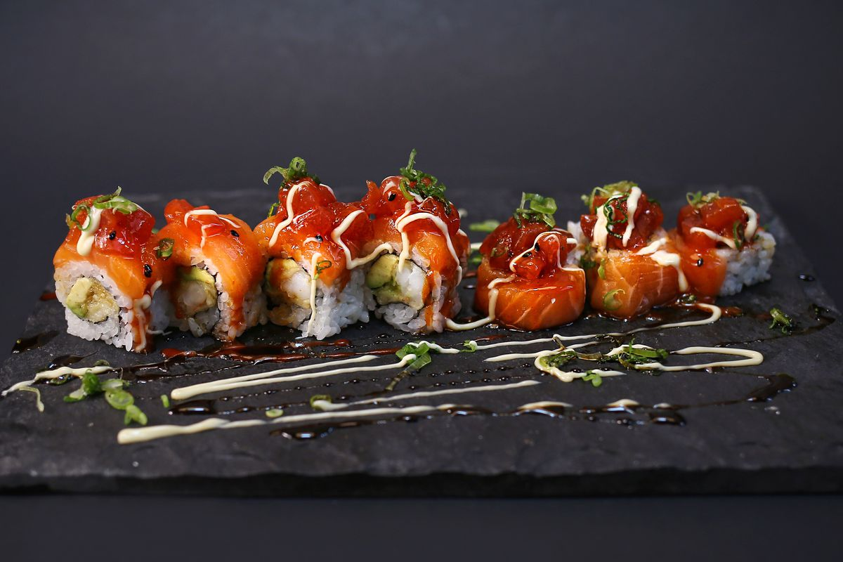 A sushi roll at Uptown Sushi