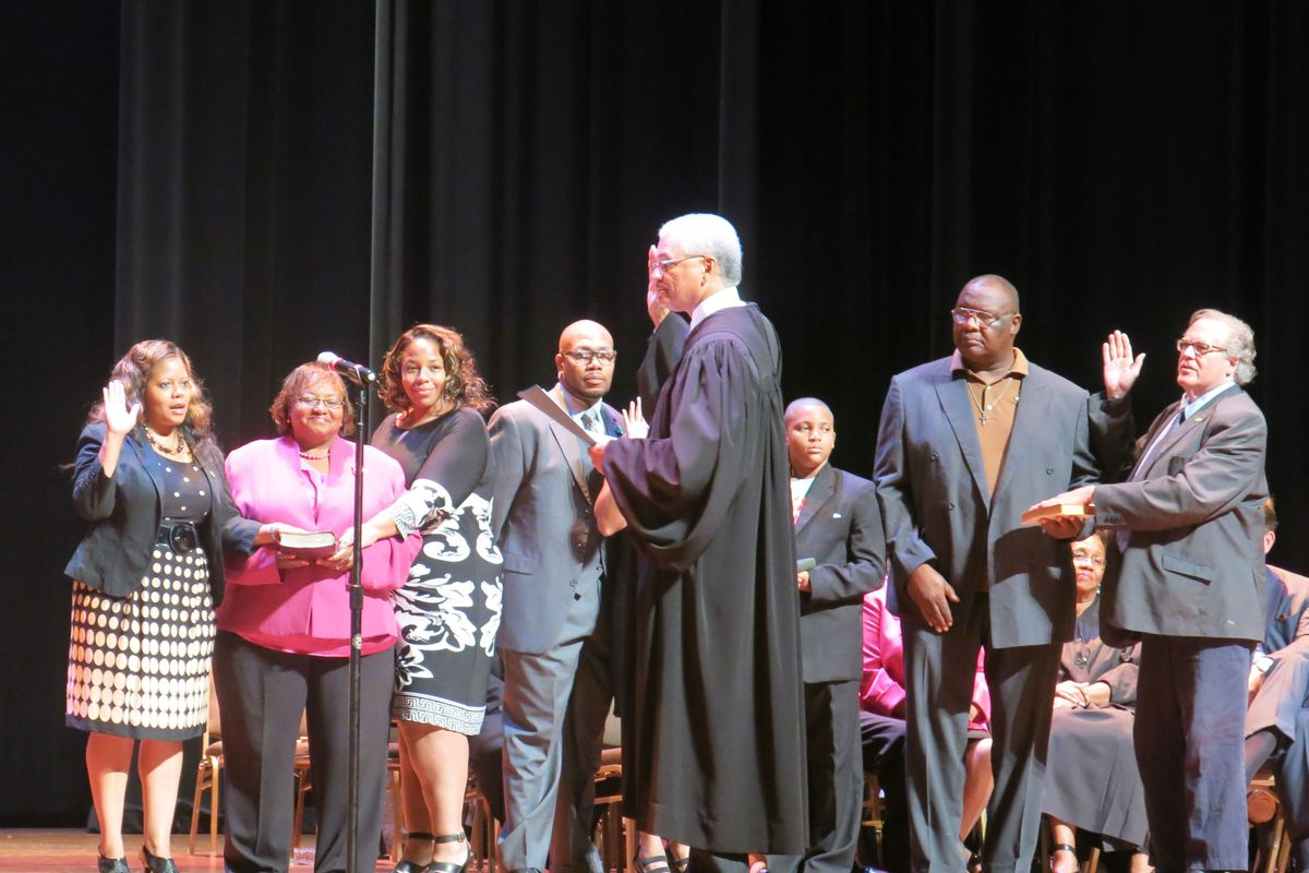 Six new Shelby County board members were sworn in at the Cannon Center.