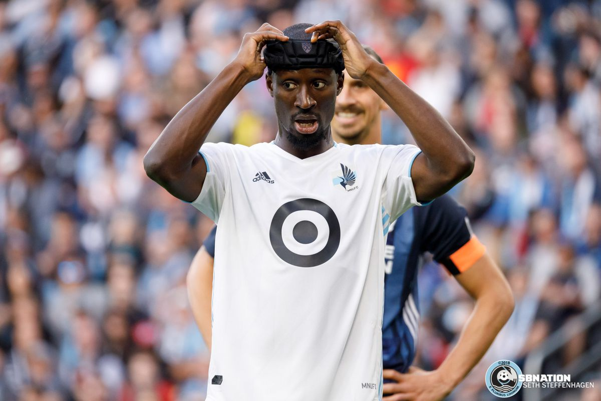 April 24, 2019 - Saint Paul, Minnesota, United States - Minnesota United defender Ike Opara (3) prepares to defend a corner kick during the match against the LA Galaxy at Allianz Field.