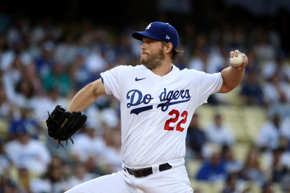 Clayton Kershaw #22 of the Los Angeles Dodgers pitches during the first inning against the Philadelphia Phillies at Dodger Stadium on June 16, 2021 in Los Angeles, California.
